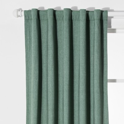 Chambray Window Blackout Curtains Green (42 x84 )- Pillowfort™
