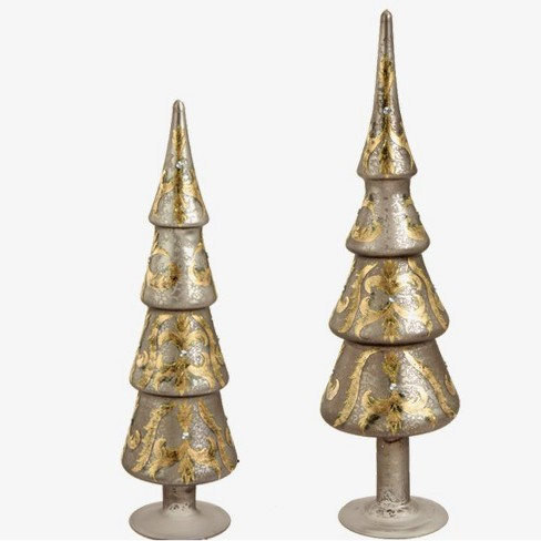 Raz Imports Set of 2 Silver and Gold Glitter and Jewel Tree-Shaped Finial Table Top Christmas Decorations - image 1 of 1