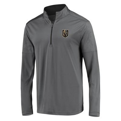 NHL Vegas Golden Knights Men's Defender Embossed 1/4 Zip Sweatshirt - Gray S