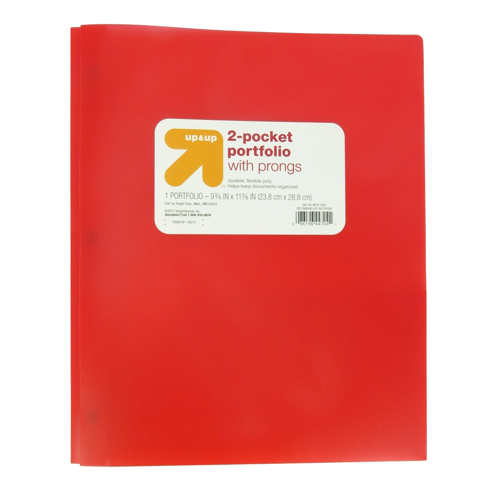 2 Pocket Plastic Folder with Prongs Red - Up&Up was $0.75 now $0.5 (33.0% off)
