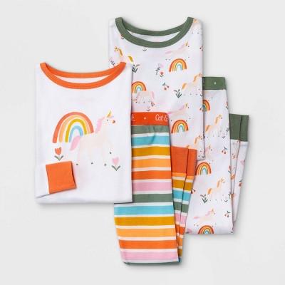 Toddler Girls' 4pc Unicorn Snug Fit Pajama Set - Cat & Jack™ White