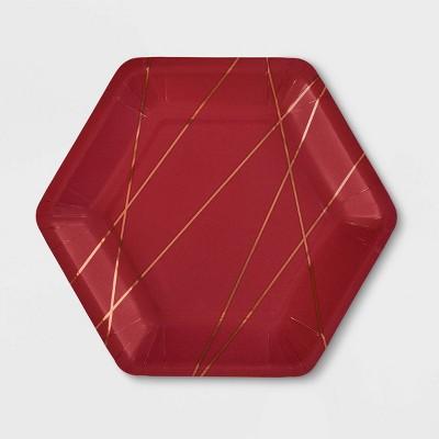"""20ct 7"""" Hexagon Burgundy Metallic Snack Plate - Spritz™"""