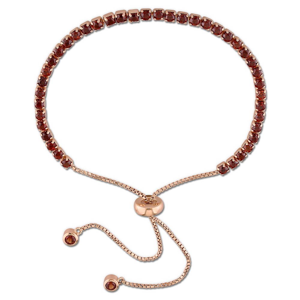 Image of 3 3/4 CT. T.W. Garnet Bolo Bracelet with Tassel in Rose Plated Sterling Silver, Women's, Red