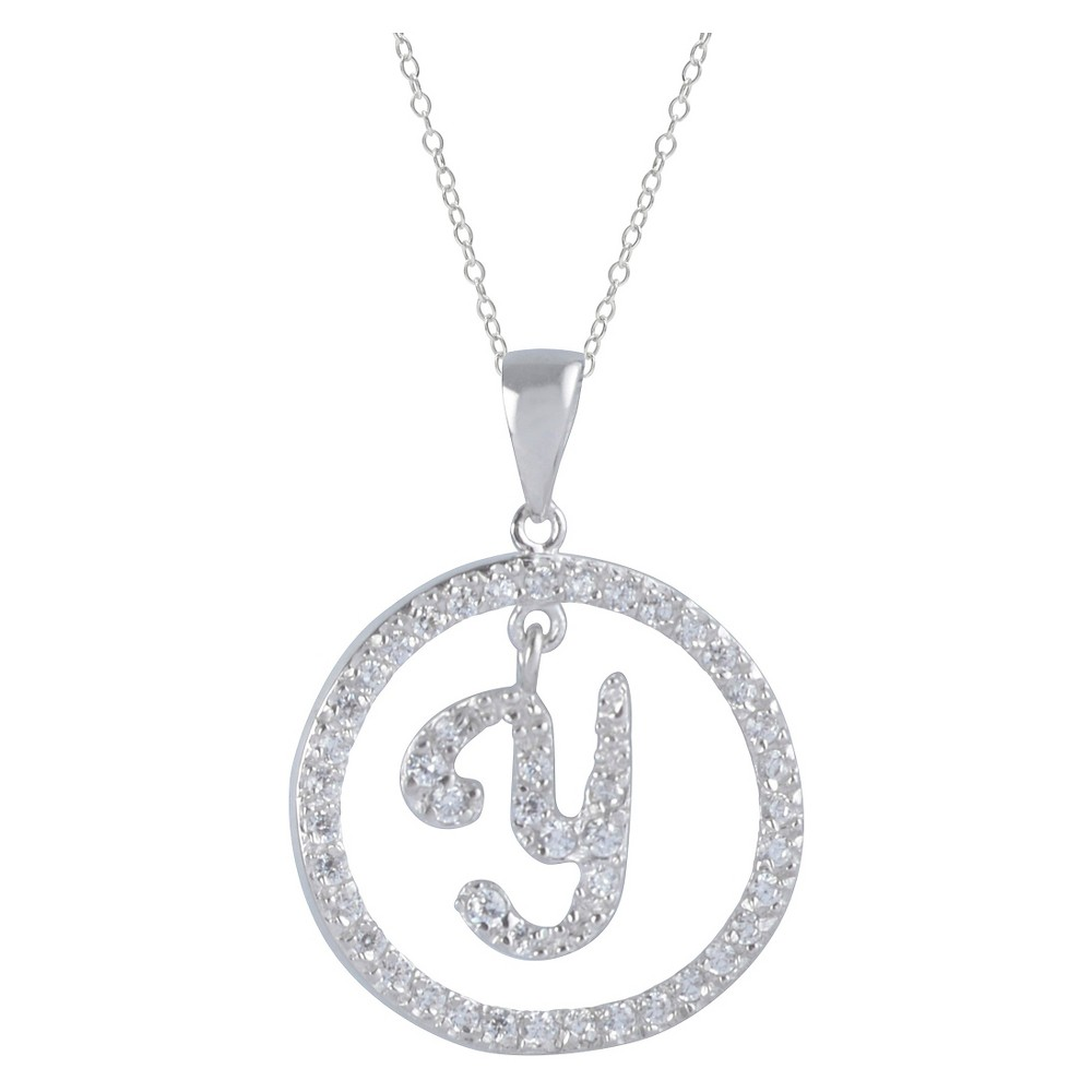 2 2/5 CT. T.W. Round-cut CZ Pave Set Initial Y Pendant Necklace in Sterling Silver - Silver (18), Girl's, Silver Y