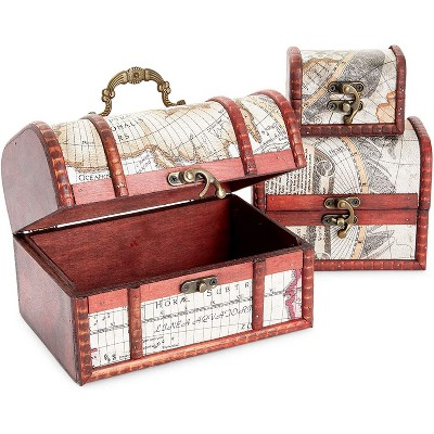 Juvale 3-Pack Wooden Jewelry Boxes for Storage, Lockable Antique World Map Design (3 Sizes)