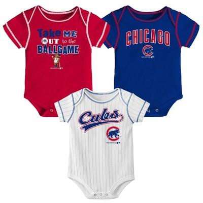 Chicago Cubs Boys' 3pk Bodysuit Set - 0-3M