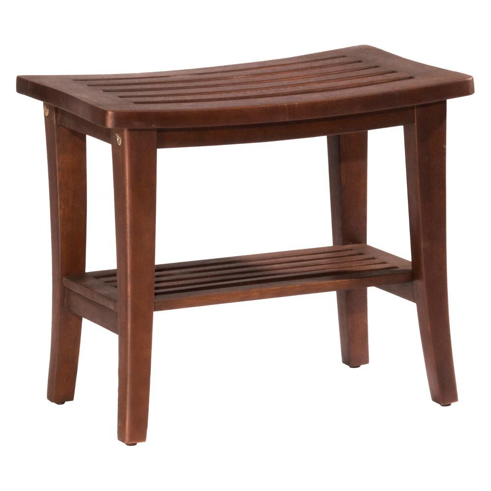Preston Backless 17.25 Rectangle Vanity Stool Walnut (Brown) (Eucalptus) - Hillsdale Furniture