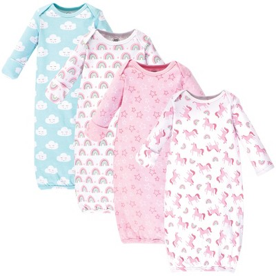 Luvable Friends Baby Girl Cotton Long-Sleeve Gowns 4pk, Rainbow, 0-6 Months