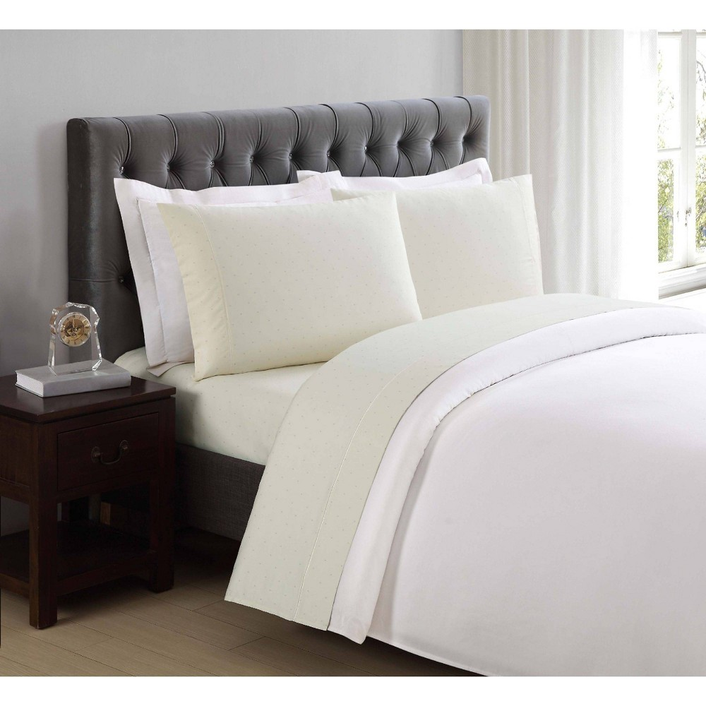 Image of California King 310 Thread Count Classic Dot Printed Cotton Sheet Set Pale Yellow - Charisma