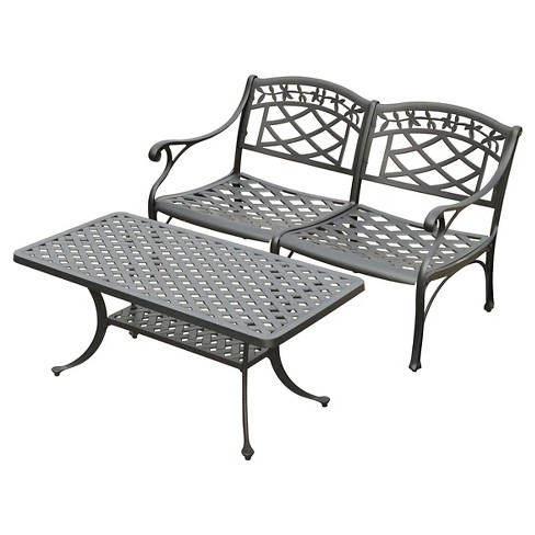 Sedona 2 Pc Cast Aluminum Outdoor Conversation Seating Set Black - Crosley - image 1 of 3
