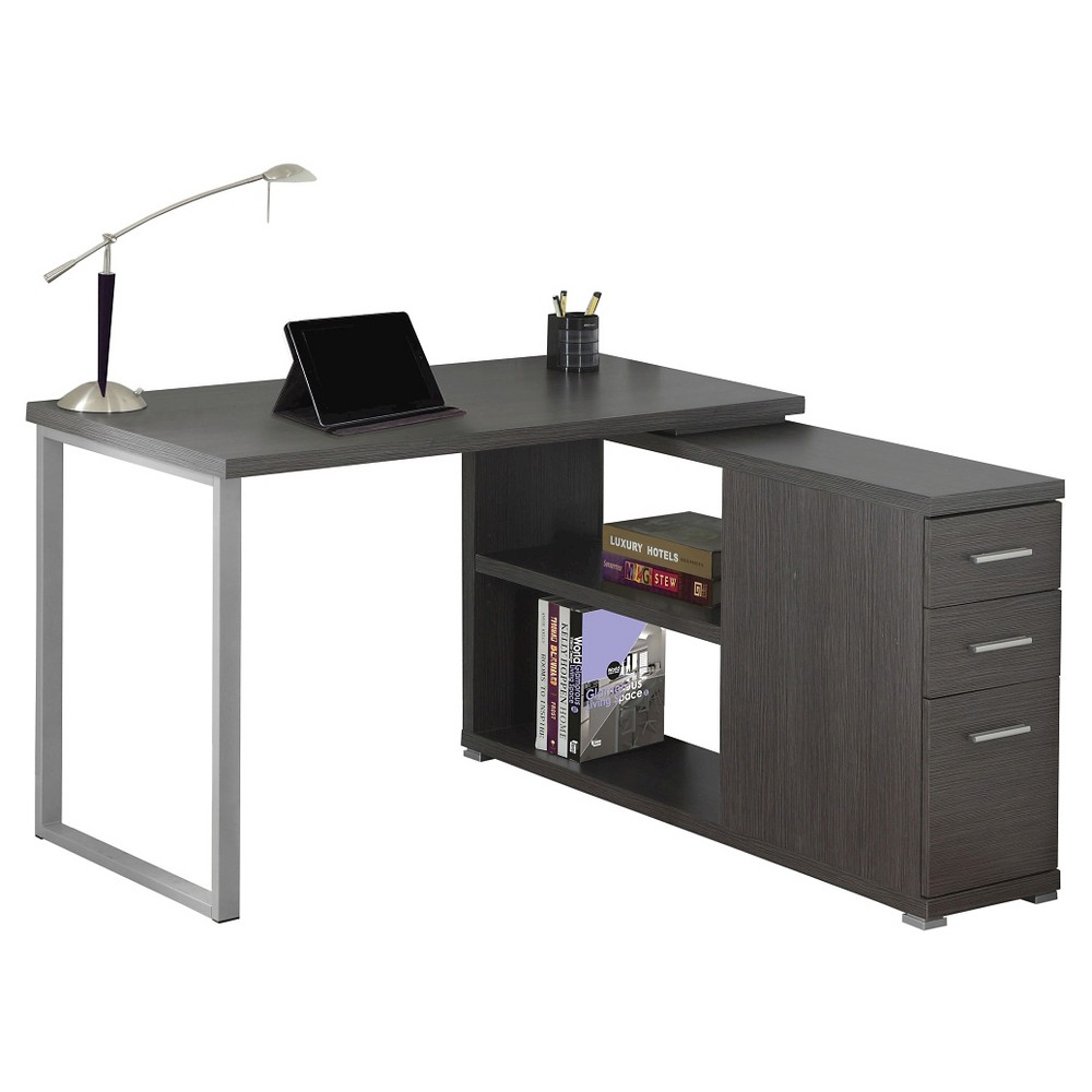 Image of Computer Desk with Facing Corner - Gray - EveryRoom