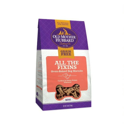 Old Mother Hubbard Grain Free Crunchy All The Fixins' Biscuits Mini oven Oven Baked Dog Treats – 16oz - image 1 of 4