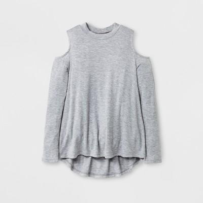 5616d1e00920c Girls  Cold Shoulder Long Sleeve T-Shirt - Art Class™ Burgundy L ...