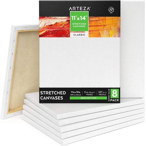 """ARTEZA Stretched Canvas, Classic, 11"""" x 14"""", Pack of 8 - image 1 of 4"""