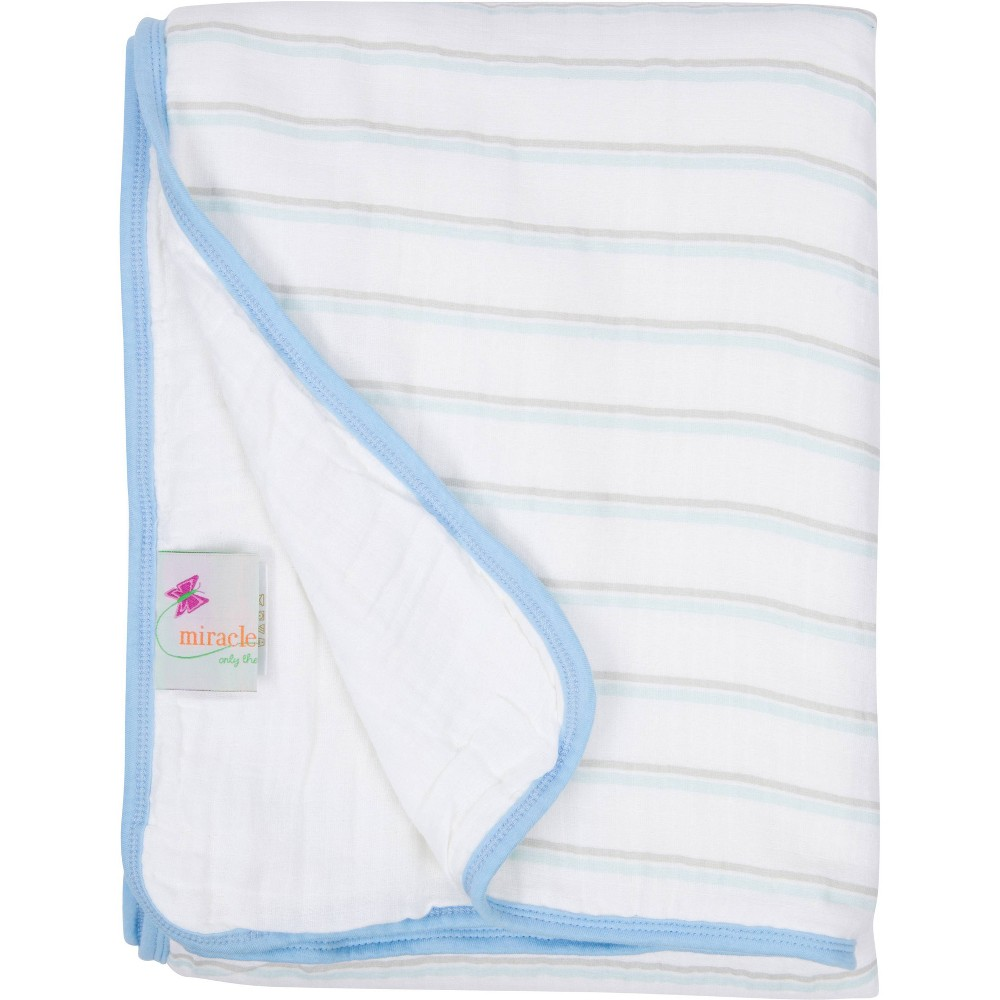 Image of MiracleWare Muslin Baby Blanket Blue Stripe