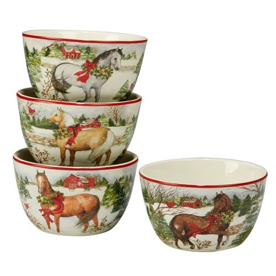 24oz 4pk Christmas On The Farm Ceramic Cereal Bowls - Certified International