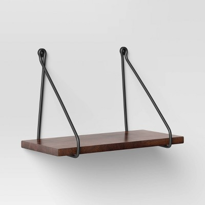 "12"" x 6"" Walnut Wood Wall Shelf with Wire Black - Threshold™"
