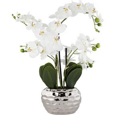 "Dahlia Studios White Phalaenopsis 23""H Faux Orchid in Silver Ceramic Pot"