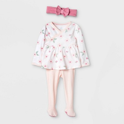 Baby Girls' 3pc Basic Floral Peplum Top and Bottom Set - Cloud Island™ Pink 3-6M