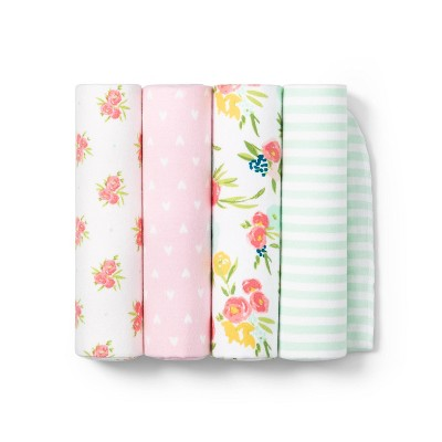 Flannel Baby Blankets Floral Fields 4pk - Cloud Island™