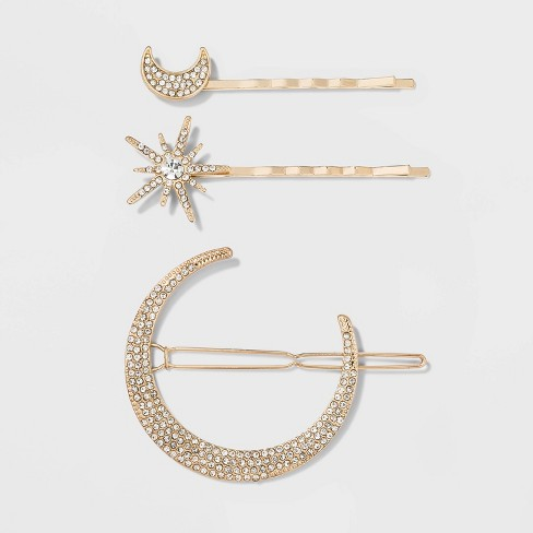 Moon and Star Crystal Hair Clips - A New Day™ Gold - image 1 of 2