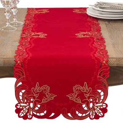 Saro Lifestyle Table Runner With Embroidered Cupid Design
