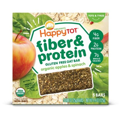 HappyTot Fiber & Protein Organic Apples and Spinach Soft-Baked Oat Bar - 5ct/0.88oz Each