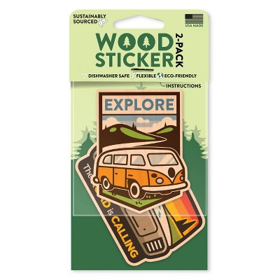Dust City Wood Stickers Explore Bus and Road is Calling Stickers 2pk