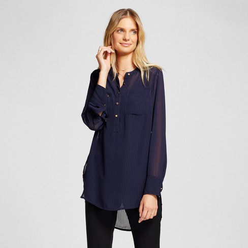 Women's Stripe Textured Chiffon Tunic - A New Day™ Navy - image 1 of 3