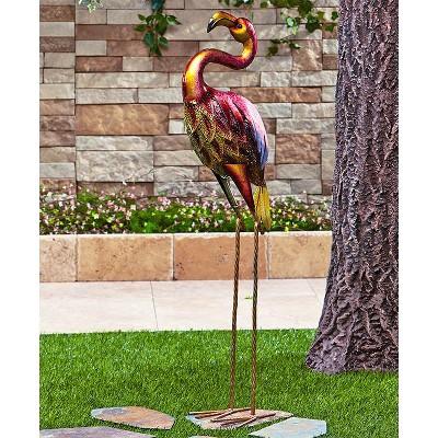 Lakeside Metal Lawn Bird Statue with Jewel Accents - Metallic Garden Ornament