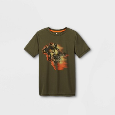 Boys' Short Sleeve Leopard Graphic T-Shirt - All in Motion™ Deep Olive