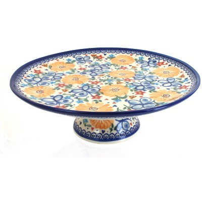 Blue Rose Polish Pottery Butterfly Cake Plate