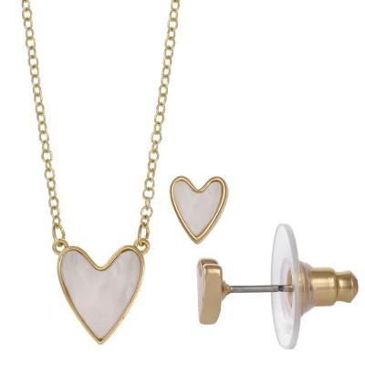 FAO Schwarz Heart Pendant & Stud Earring Set