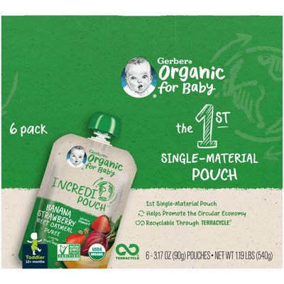 Gerber Organic Toddler 12+ Months Incredipouch Banana Strawberry Beet Oatmeal Puree - 6pk/3.17oz