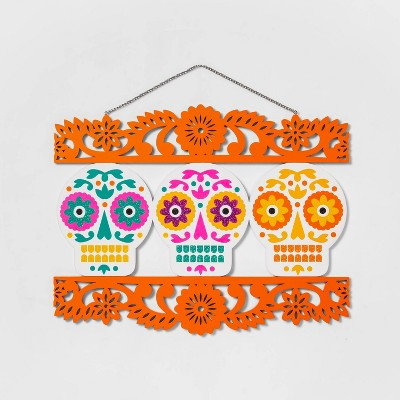 Día de Muertos Three Skulls Wood Hanging Wall Sign - Designed with Luis Fitch