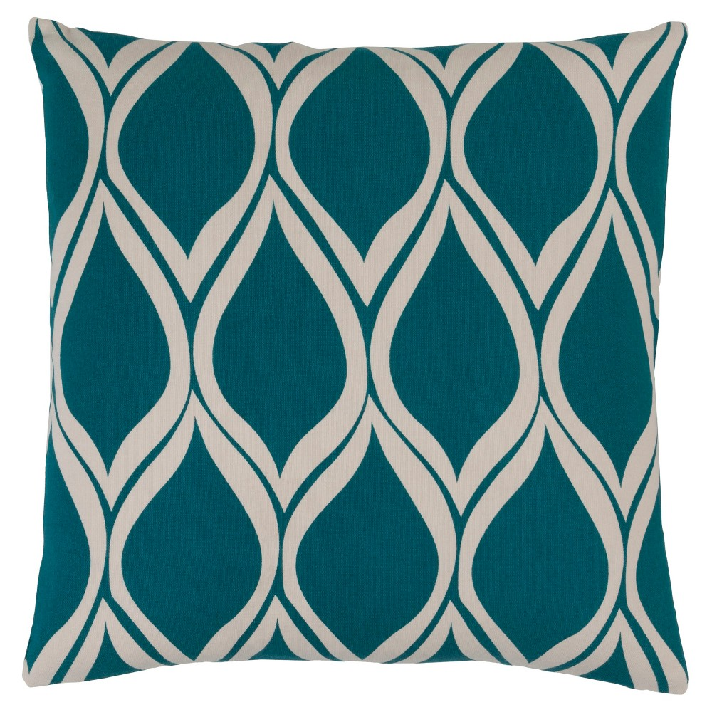 Teal (Blue) Vexford Geometric Throw Pillow 20