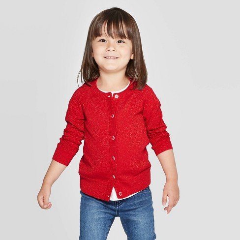 Toddler Girls' Cardigan with Shine - Cat & Jack™ Red - image 1 of 3