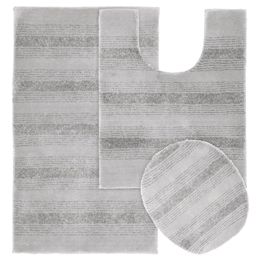 Garland 3 piece Essence Washable Nylon Bath Rug Set - Platinum Gray