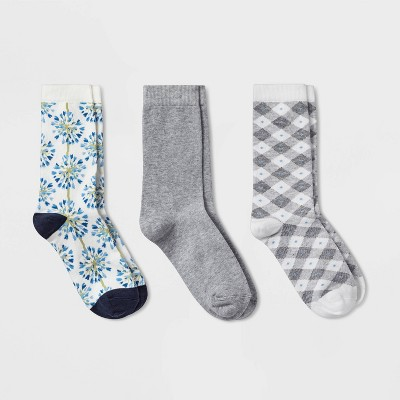 Women's Floral 3pk Crew Socks - A New Day™ Blue 4-10