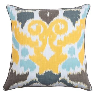 Yellow/Blue/Gray Laura Fair Throw Pillow (22 x22 )- Rizzy Home