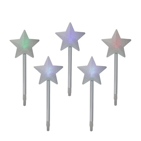 Brite Star Set of 5 Color Changing LED Star Outdoor Pathway Marker Lawn Stakes - White Wire - image 1 of 2