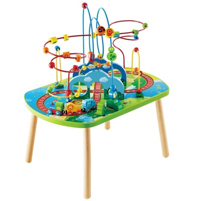 Hape E3824 Jungle Adventure Kids Toddler Wooden Bead Maze & Railway Train Track Play Table Toy for Ages 18 Months and Up