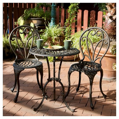 Thomas 3pc Cast Aluminum Patio Bistro Set - Dark Gold - Christopher Knight Home