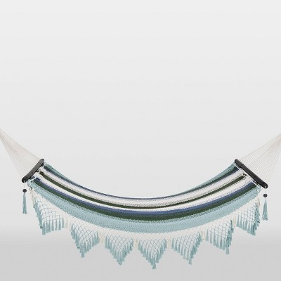 Macrame Striped Fringe Hammock with Spreader Bar Green/Blue/White - Opalhouse™