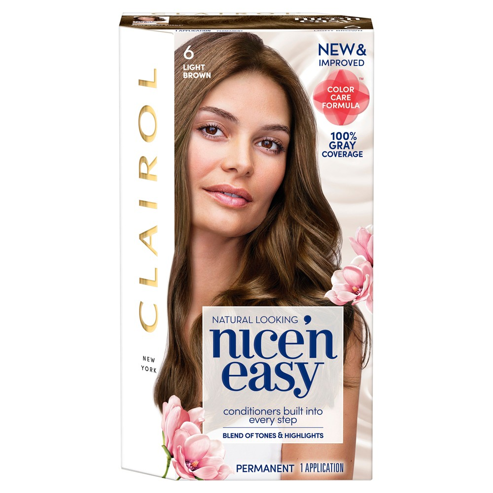 Image of Clairol Nice 'N Easy Permanent Hair Color - 6 Light Brown - 1 kit