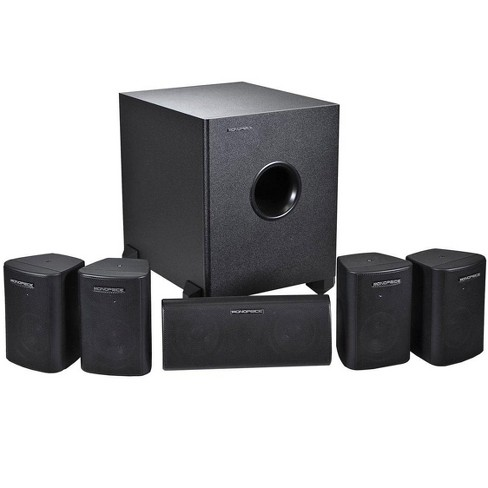 Monoprice 5.1 Channel Home Theater Satellite Speakers And Subwoofer - Black - image 1 of 4