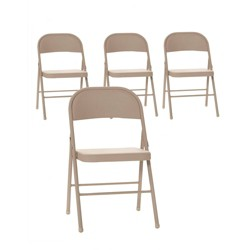 4pk All Steel Folding Chair Antique Linen - Room & Joy
