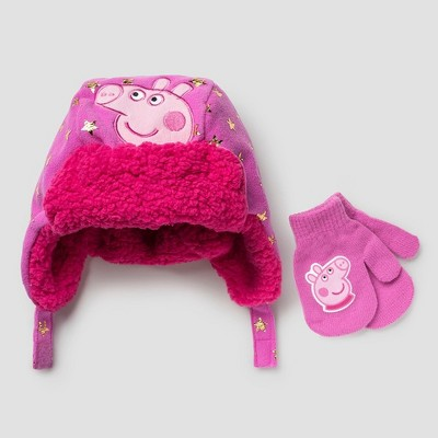 Toddler Girls Peppa Pig Hat and Mitten Set - Pink One Size