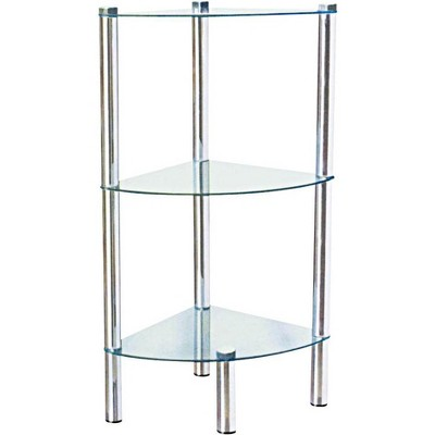 Home Basics 3 Tier Multi Use Arc Glass Corner Shelf, Clear