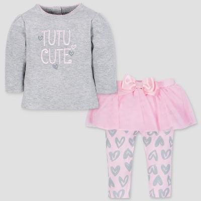 Gerber Baby Girls' 2pc Bear Long Sleeve Top and Tutu Leggings - Pink 0-3M